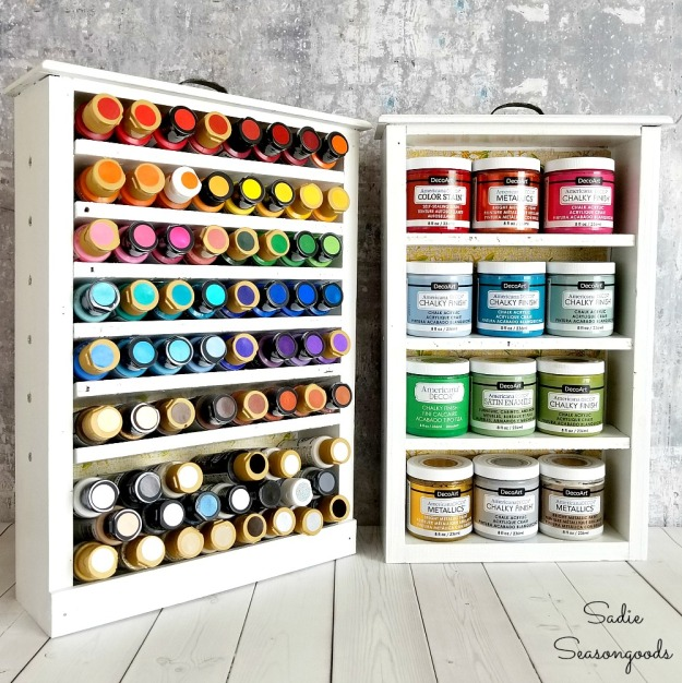 DIY_craft_paint_storage_with_repurposed_and_upcycled_salvaged_wooden_kitchen_drawers_by_Sadie_Seasongoods